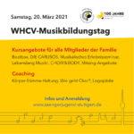 WHCV-Musikbildungstag 2021: 4 Webinare & ein Mitsing-Konzert