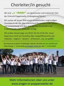 Chorleiter gesucht nach Poppenweiler/Ludwigsburg