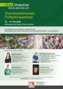 Chormusikalisches Frühjahrsseminar 15. – 17. Mai 2020
