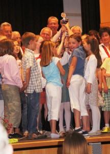Riesige Freude bei den Kindern über den gewonnenen Pokal
