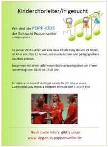 Kinderchor Poppenweiler sucht Chorleiter
