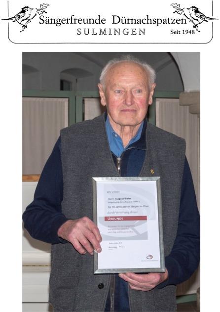 Ehrenmitglied und aktiver Sänger August Maier wurde 100