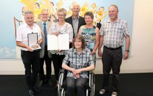 (.stehend): Rupert Schmid; BM Richard Mück; Marianne Fiseli; LR Dr. Heiko Schmid; Vereinsmitgl. Barbara Schmid u. Wolfgang Maier , Sitzend: SF. Bärbel Selig